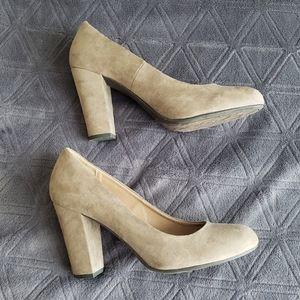 Taupe Round toe block heels